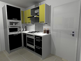 Black and green cooking area
