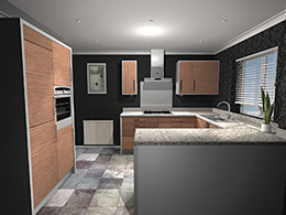 Midsized kitchen with breakfast bar area