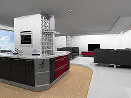 Concept kitchen built around a central pillar
