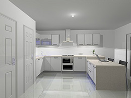 Pure white kitchen with blue LED lighting