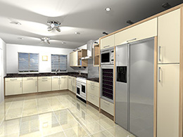 Cream kitchen with tall bank of units