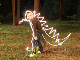 Lightpainting dinosaur